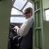 Mayor Stephen DiNatale takes on the co-pilot's seat in the Ford Tri-Motor as it prepares for flight on Thursday afternoon at the Fitchburg Municipal Airport. The plane, which had its first flight in 1929, is available for flights Friday through Monday from 9 AM to 5 PM. SENTINEL & ENTERPRISE / Ashley Green