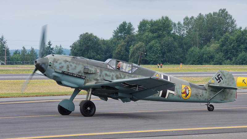 Messerschmitt Bf 109E-3 taxiing out for takeoff.