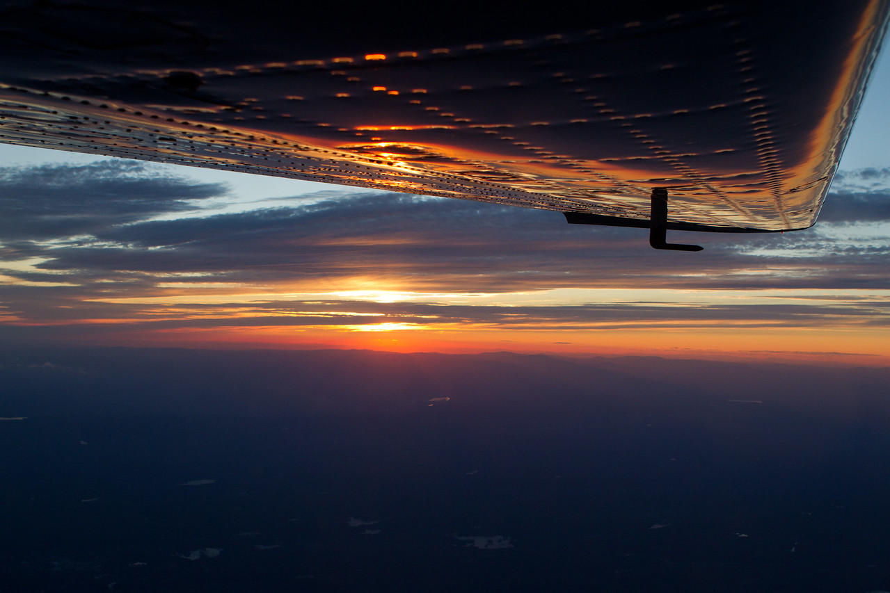 Sunset off the left wing.