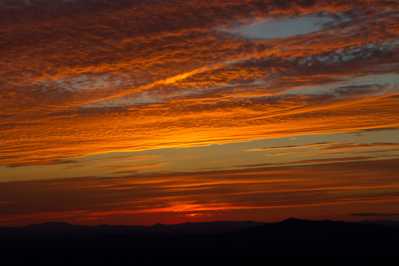 Sunset.  Mt. Monadnock closer in on the right.