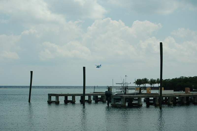 the float plane landing in the bight to pick us up