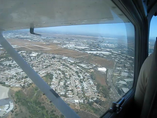 Turn from base to final, landing at MYF. Pretty good landing!