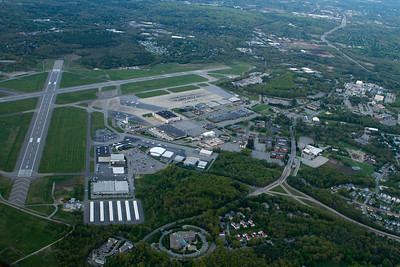 Hanscom Airport and the VeloBit office building at the bottom center. - Copyright (c) 2013 Daniel Noe