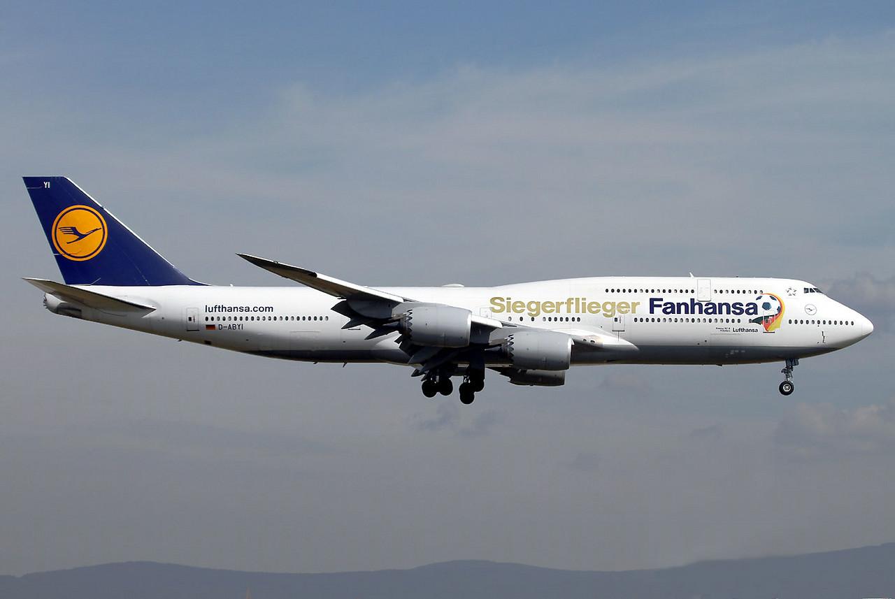 Lufthansa is celebrating Soccer World Champion 2014 Germany. Boeing 747-8 D-ABYI 'Siegerflieger' at Frankfurt Rhein-Main, July 17th, 2014.
