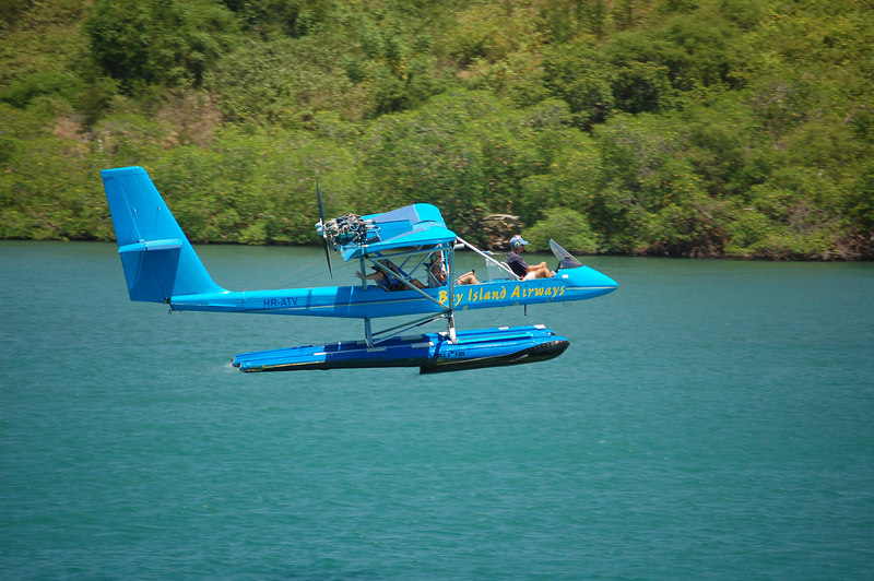 Joy and Jeremy taking off in the seaplane.