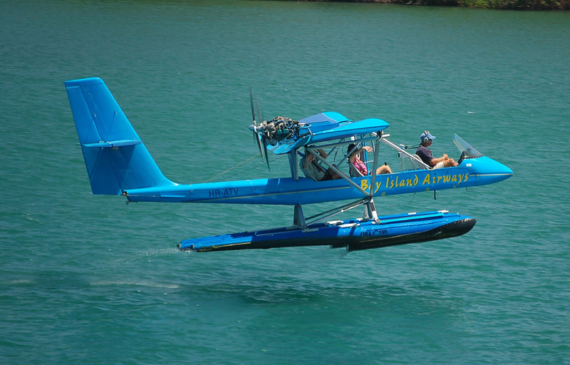 Butch and Sherry taking off in the seaplane.