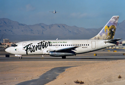 Frontier Airlines Boeing 737-201  	Las Vegas - McCarran International (LAS / KLAS) USA - Nevada, April 1997 Reg: N212US  Cn: 20212/159 Ready for take off RWY 01.