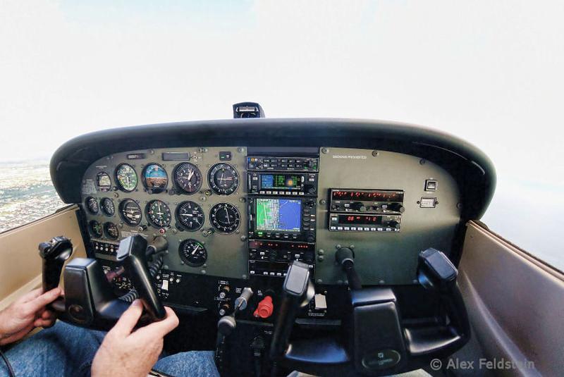 Cessna 172 over Pompano Beach, FL<br /> Fisheye shot