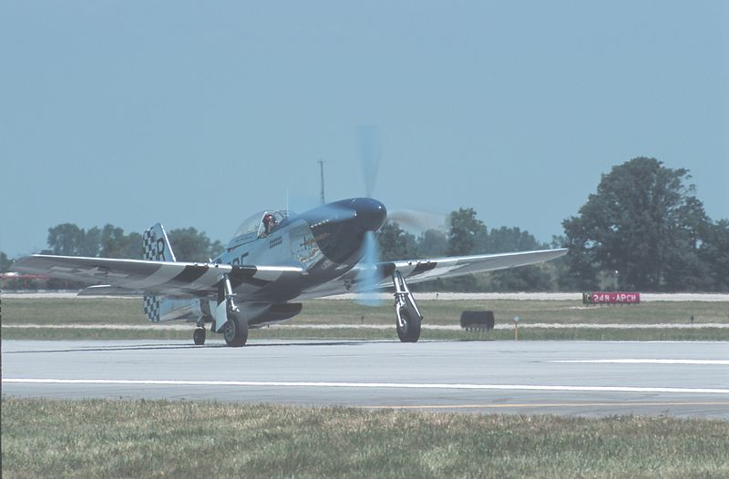 P 51 Mustang flown by the Tuskegee Airmen in WW 2.  Taken <br /> at the Dayton Air Show 2003 (Centennial of Flight)