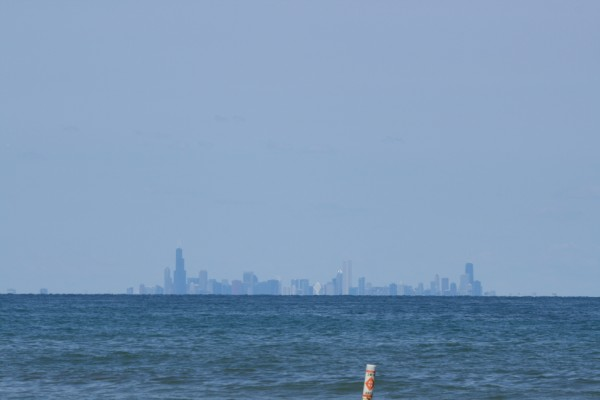 Chicago skyline from Marquette Park in Miller