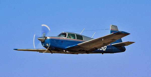 Mooney taking off from Oceanside Municipal airport.