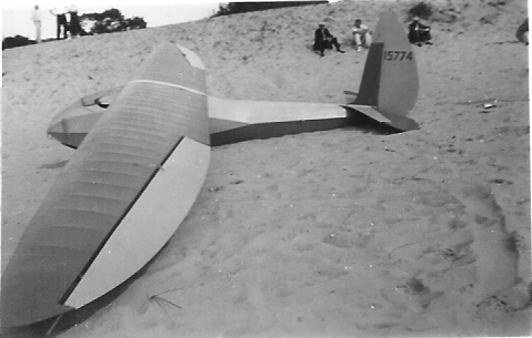 ABC sailplane on the beach at Sleeping Bear Sand Dunes.