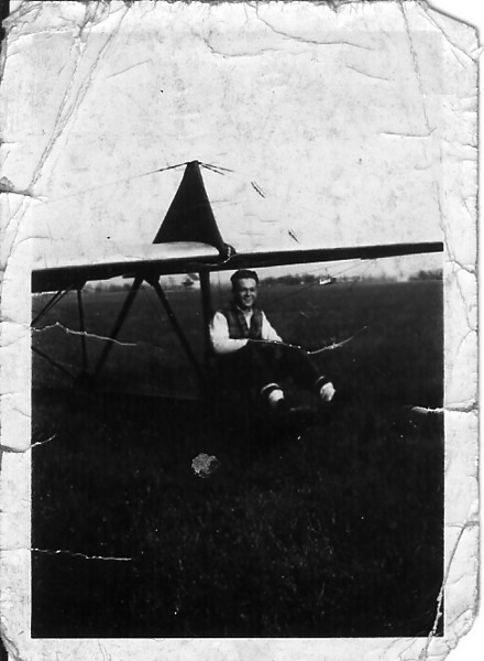 1933 - Bill Prescott sitting in the Northrop primary glider.  Dad kept this photo in his wallet and we found it with his personal effects after his passing in December 1998.