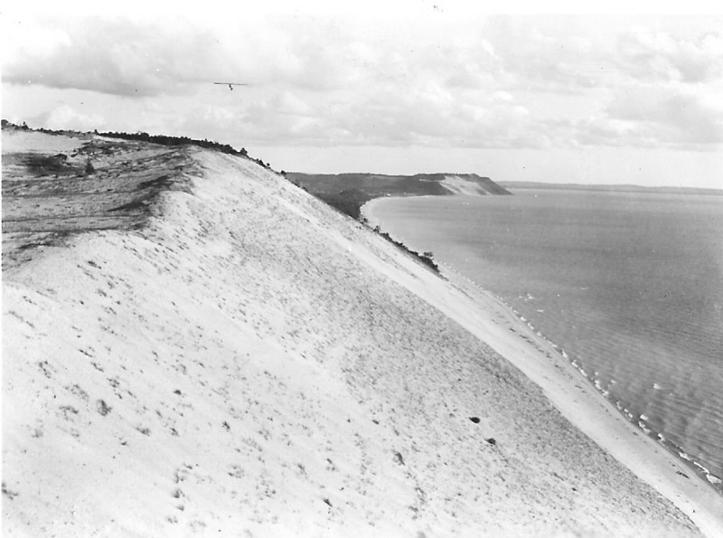 September 1935 - Frankiln Sailplane making the first soaring flight over the sand dunes on Sleeping Bear - Michigan