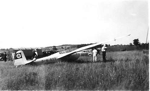 1940 - Kranich Two-Place sailplane flown by German pilot, Peter Riedel.
