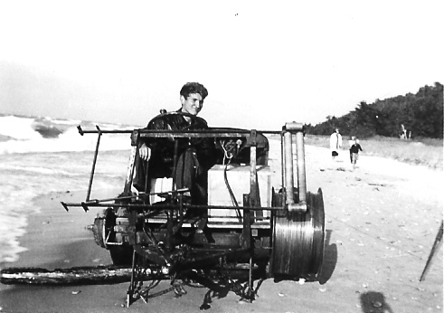 Detroit Glider Club's winch on the beach at Sleeping Bear Sand Dunes.