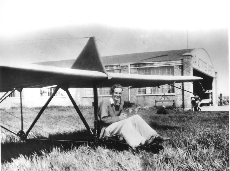 Bill Prescott sitting in the Northrop primary glider - 1932 at the Air Activities airport outside of Chicago, IL.