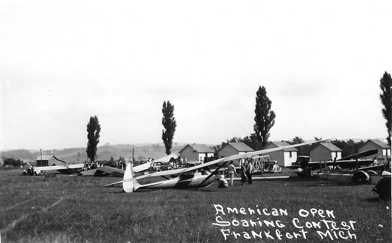 1939 American Open Soaring Contest - Frankfort, MI.  Bowlus Senior Albatross NC219Y is in the foreground.  NC219Y is on display at the National Soaring Museum in Elmira, NY.