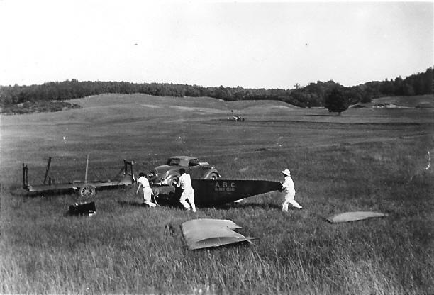 1936 - Art Schultz stowng the ABC Glider Club's Franklin Secondary Sailplane.