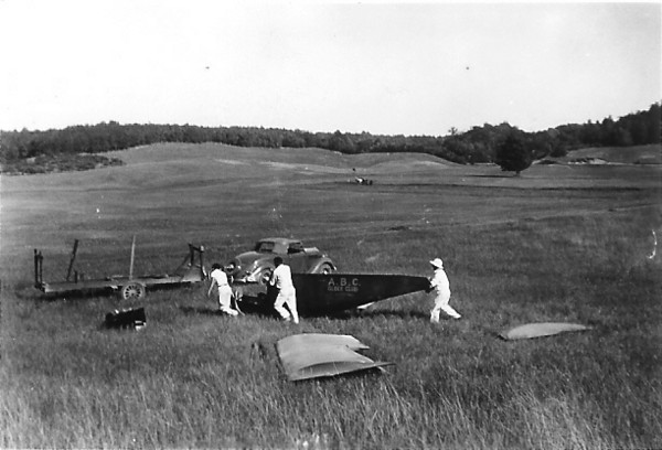 1936 - Art Schultz stowng the ABC Glider Club's Franklin Secondary Sailplane.