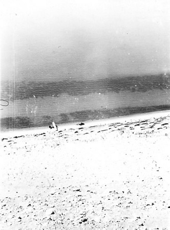 """1936 - Looking down """"The Bear"""" with sailplane on beach"""