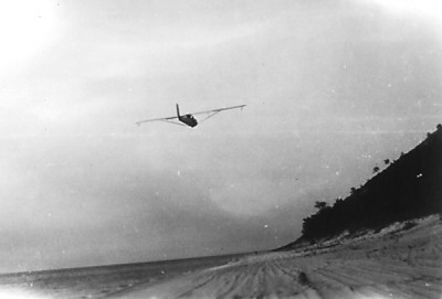 "1936 - Sailplane coming in for landing on the beach at ""The Bear:"