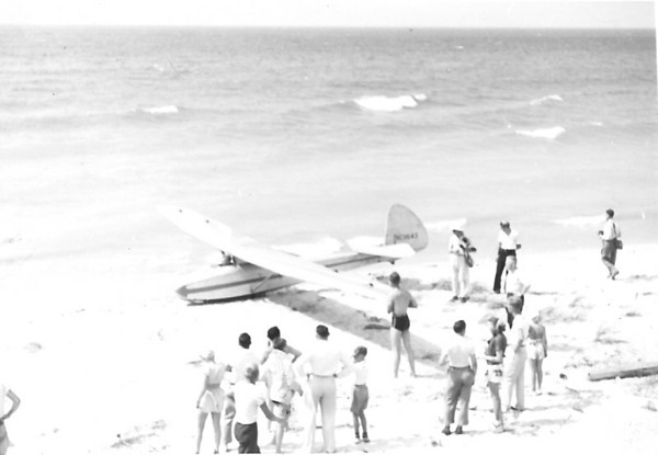 German designed Wolf sailplane on the beach ready for launch at Sleeping Bear Sand Dunes.