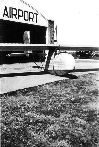 1935 - Bill Prescott sitting in cockpit of the Waco secondary glider - Air Activities Airport, Chicago, IL