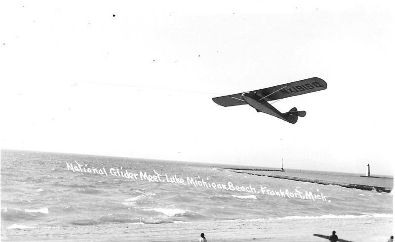 1940 - Universal Two-Place sailplane on winch launch.