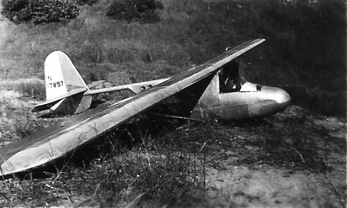 """1935 - Schweizer 1-6 """"Boom-Tail sailplane - N17897.  It was flown in the 1937 Nationals and awarded 3rd place in the Eaton design competition."""