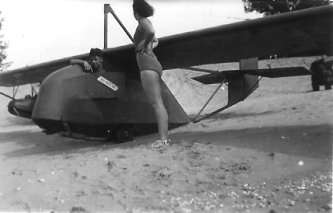 """1940 - Detroit Gull Primary Glider (Converted) """"The Blimp""""- Owned by the Meeker Brothers."""