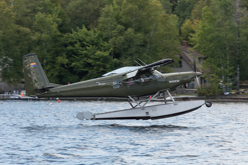 Helio Courier landing on Mooshead Lake.