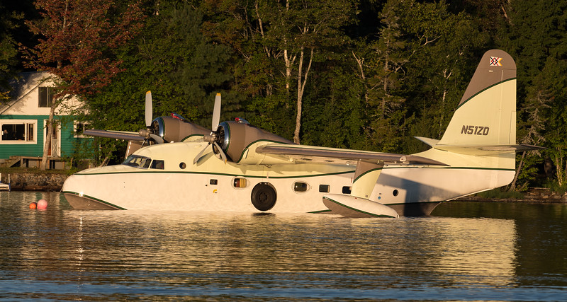 Early morning light shines on the Grumman Albatross on Moosehead Lake.