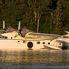 Early morning light shines on the Grumman Albatross on Moosehead Lake.