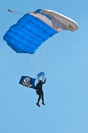 Member of the 98th Flying Training Squadron and Wings of Blue parachute team from the United States Air Force Academy