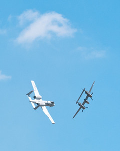 Heritage Flight with A-10 Thunderbolt (Warthog) and P-38 Lightning.