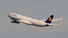 Lufthansa Airlines Airbus A340 heads for Frnkfurt, Germany.