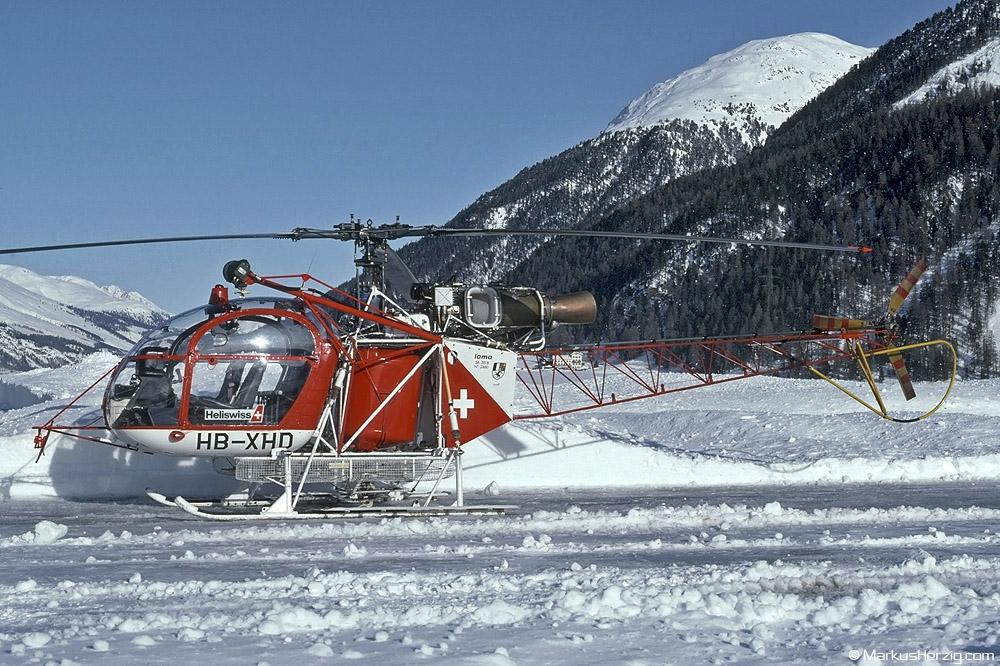 HB-XHD SA315B Heliswiss @ Samedan Switzerland 23Dec91
