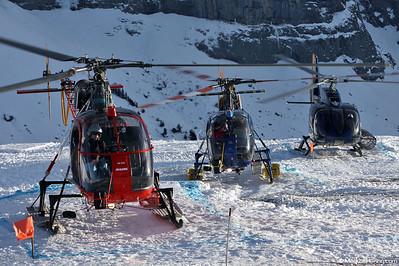 HB-ZHZ SA315B Air Glaciers @ Lauberhorn Switzerland 15Jan11 - HB-ZGP and HB-ZFB