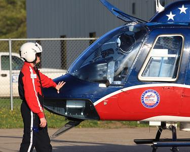 AirEvac 59 Lifeteam. Flight paramedic, Aaron Feagain at the Iowa City airport.