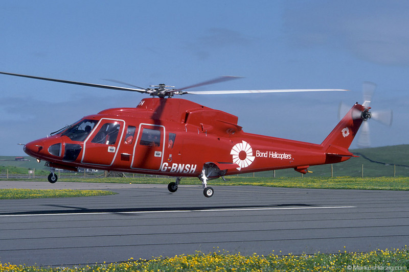 G-BNSH S-76A Bond Helicopters @ Sumburgh Shetland Islands 25Jun90