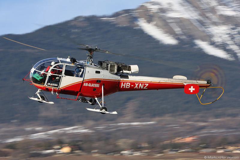 HB-XNZ SA316B Air Glaciers @ Sion Switzerland 27Dec07