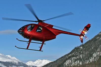 HB-XUN MD500E Jet Flight Estab @ Samedan Switzerland 22Jan04