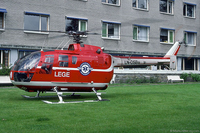 LN-OSB Bo105CBS-4 LEGE @ Voss Norway 11Jun90 - later HB-ZHS