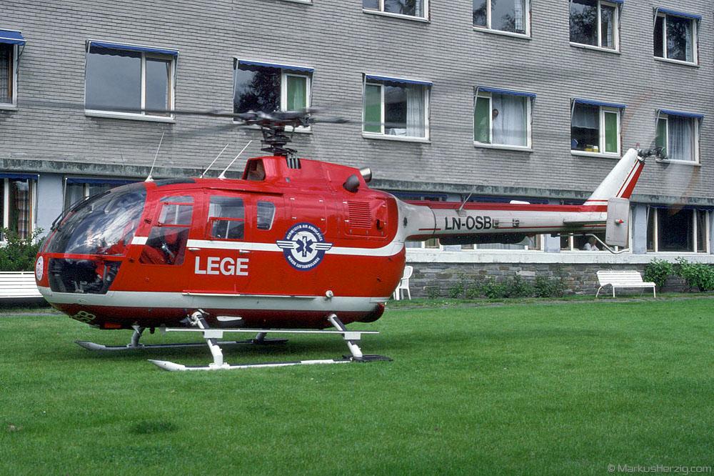 LN-OSB Bo105CBS-4 LEGE @ Voss Norway 11Jun90 - later HB-ZHS