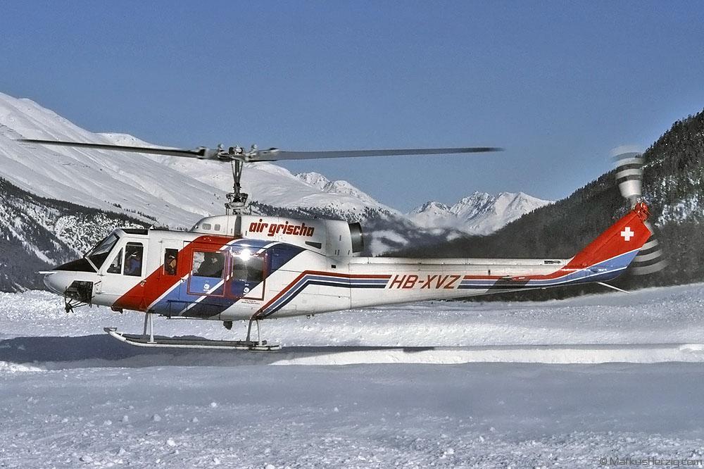 HB-XVZ Bell 214B-1 Air Grischa @ Samedan Switzerland 23Dec91