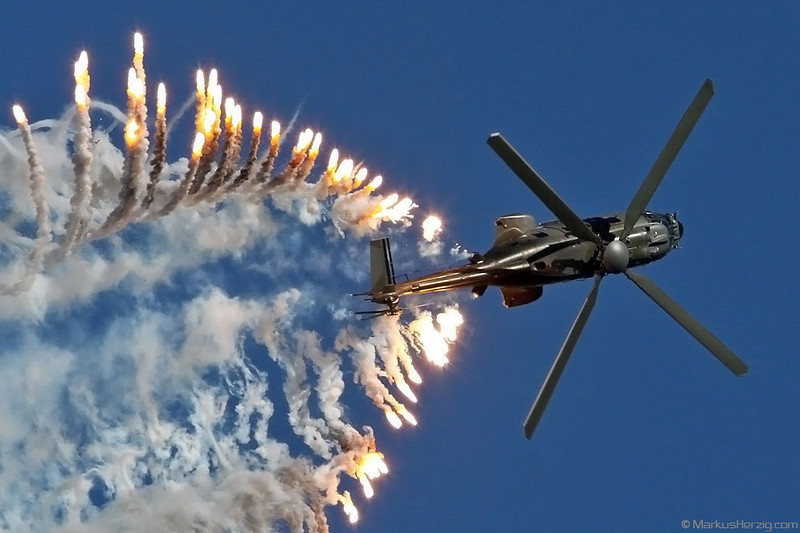 T-338 AS532UL Swiss Air Force @ Axalp Switzerland 14Oct10 - Firing flares