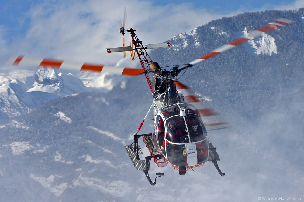 HB-XRL SA315B Air Glaciers @ Sion Switzerland 13Dec08