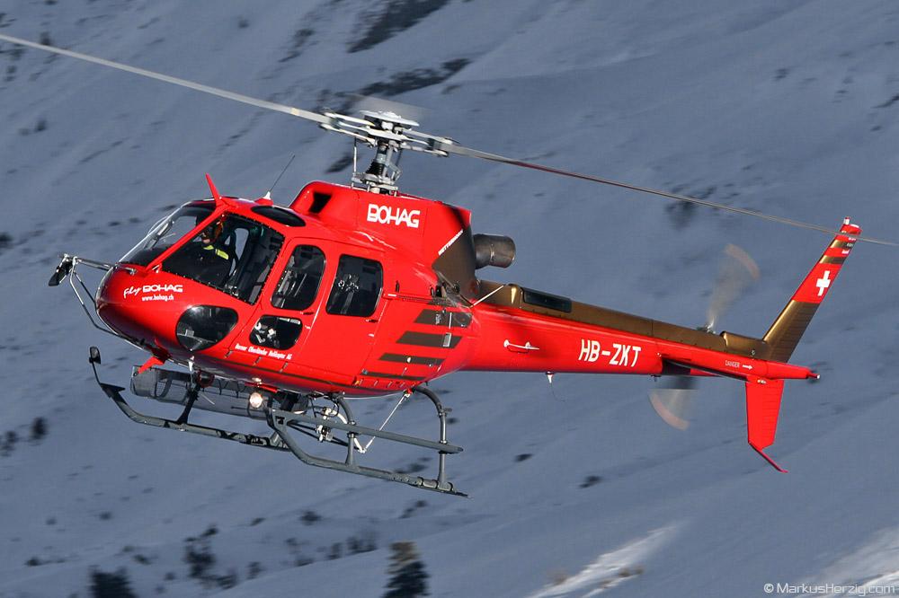 HB-ZKT AS350B3 Bohag @ Kleine Scheidegg Switzerland 14Jan12