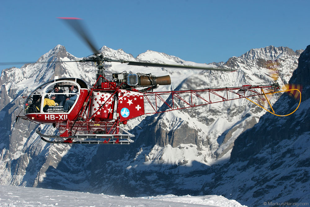 HB-XII SA315B Air Zermatt @ Lauberhorn Switzerland 14Jan06